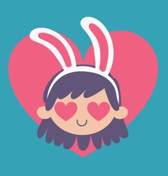 Cartoon Bunny Girl Madly in Love vector image