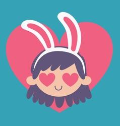 Cartoon bunny girl madly in love vector