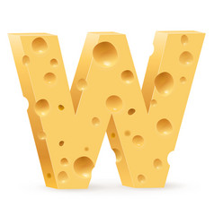 cheese font w letter on white vector image