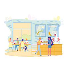 Children eating in school cafeteria canteen vector
