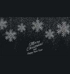 christmas new year background with silver snowflak vector image