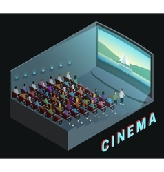 Cinema Interior View Isometric Composition Poster vector