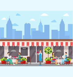 City cafe facade or exterior visitors at tables vector