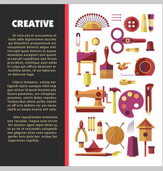 Creative activity hobby and handmade craft tools vector