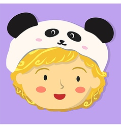 Curly Girl with Panda Hat vector image
