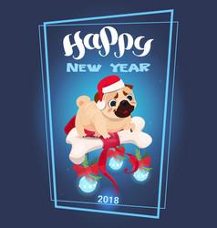 Cute pug dog holding decorated bone symbol of new vector