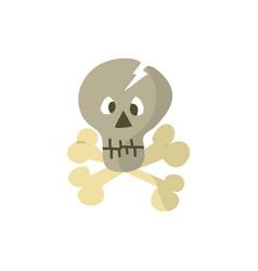 cute skull and cross bone flat design vector image