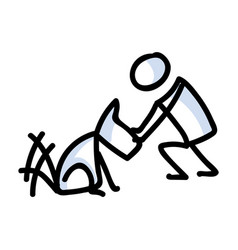 Cute stick figure owner petting dog clipart vector