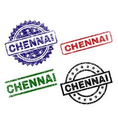 Damaged textured chennai stamp seals vector