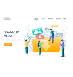 download media website landing page design vector image