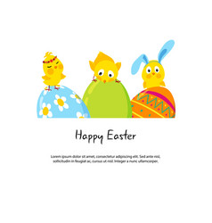 Easter border with funny cute chicks and eggs vector
