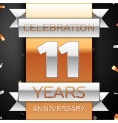 Eleven years anniversary celebration golden and vector image