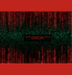 error in program code listing red crash on vector image