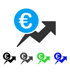 Euro sales growth flat icon vector