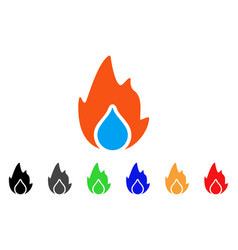 fire and water drop icon vector image