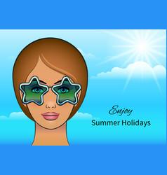 girl in stars sunglasses vector image