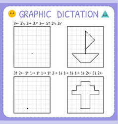 Graphic dictation kindergarten educational game vector