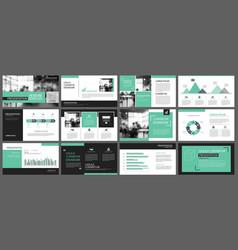 green presentation templates for slide vector image