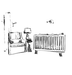 Hand drawn children room furniture sketch baby vector