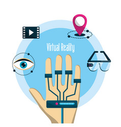 Hand with element to virtual reality entertainment vector