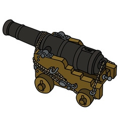 Historic naval cannon vector image
