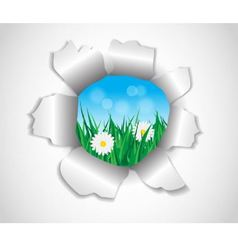 Hole in the paper which grass and flowers vector