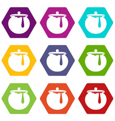 Honey pot icon set color hexahedron vector