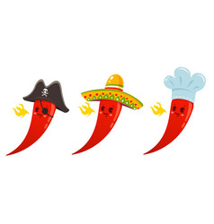 Hot chili pepper in sombrero cook and pirate hats vector