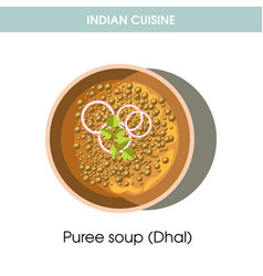 Indian cuisine dhal puree soup traditional dish vector