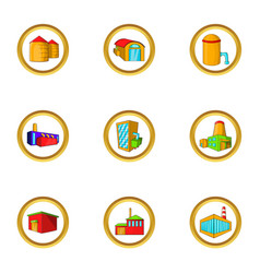 Industrial factory icon set cartoon style vector