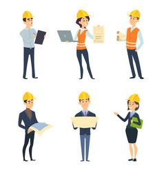 Industrial workers male and female architect vector