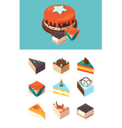isometric cakes delicious products sliced cake vector image