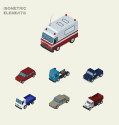 isometric car set of auto suv truck and other vector image