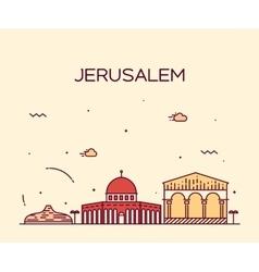 Jerusalem skyline trendy linear style vector image