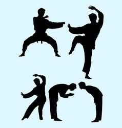 Karate martial art gesture silhouette 03 vector