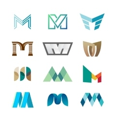 Letter M logo set Color icon templates design vector