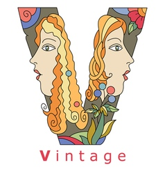 letter V vintage vector image