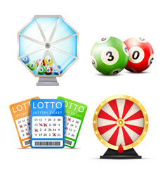 Lottery realistic accessories set vector