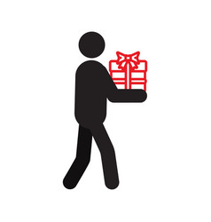 man holding gift in hands silhouette icon vector image
