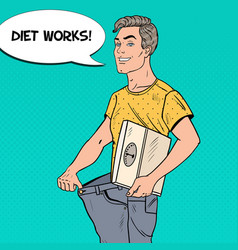 Man in oversized jeans dieting concept pop art vector