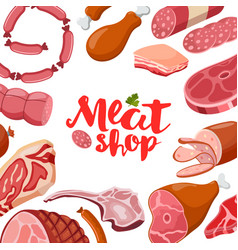 meat frame with logo fresh meat icon vector image
