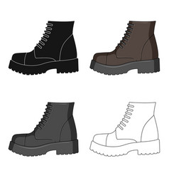 Men brown shoes with thick soles shoes for vector