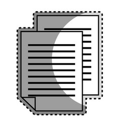 Monochrome contour sticker with document file vector