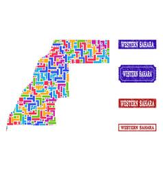 Mosaic map of western sahara and distress stamps vector