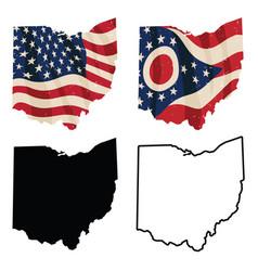 Ohio with usa flag flag black silhouettes vector