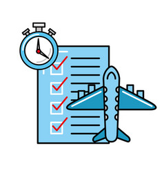 Online shopping logistic airplane check list clock vector