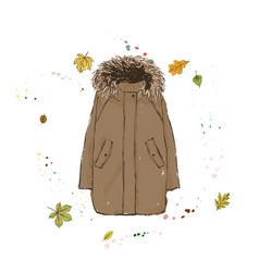 Parka jacket of brown color outerwear on the vector