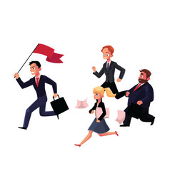 People running after leader holding flag business vector