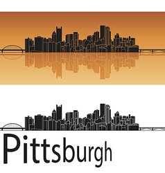 Pittsburgh skyline in orange background vector image