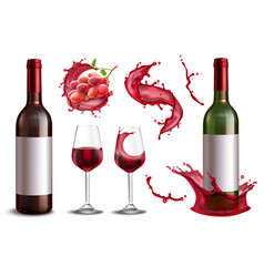 Realistic wine splash set vector